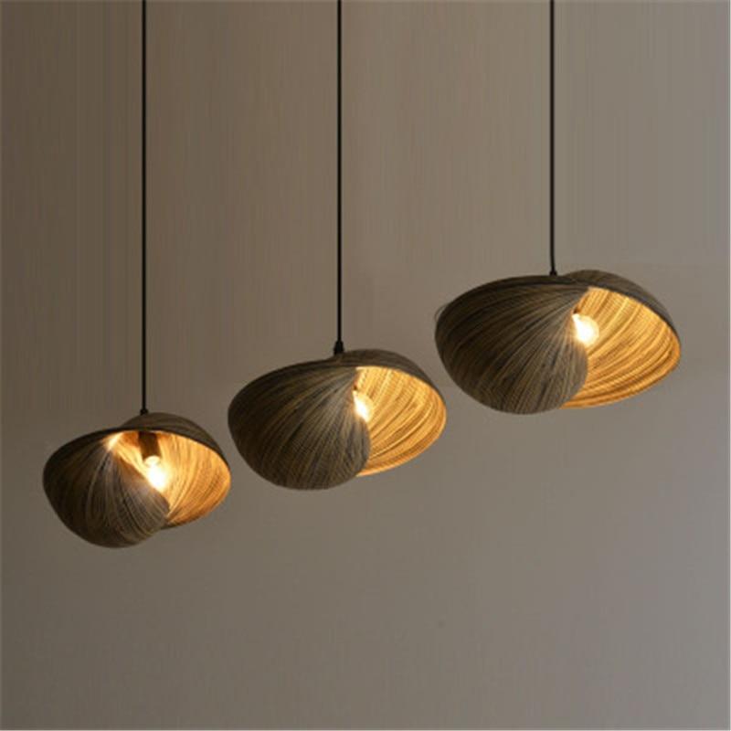 Lámpara trenzada de bambú de estilo chino, lámpara de hilo de pescar de un solo cabezal, lámpara pequeña con personalidad creativa para restaurante E14