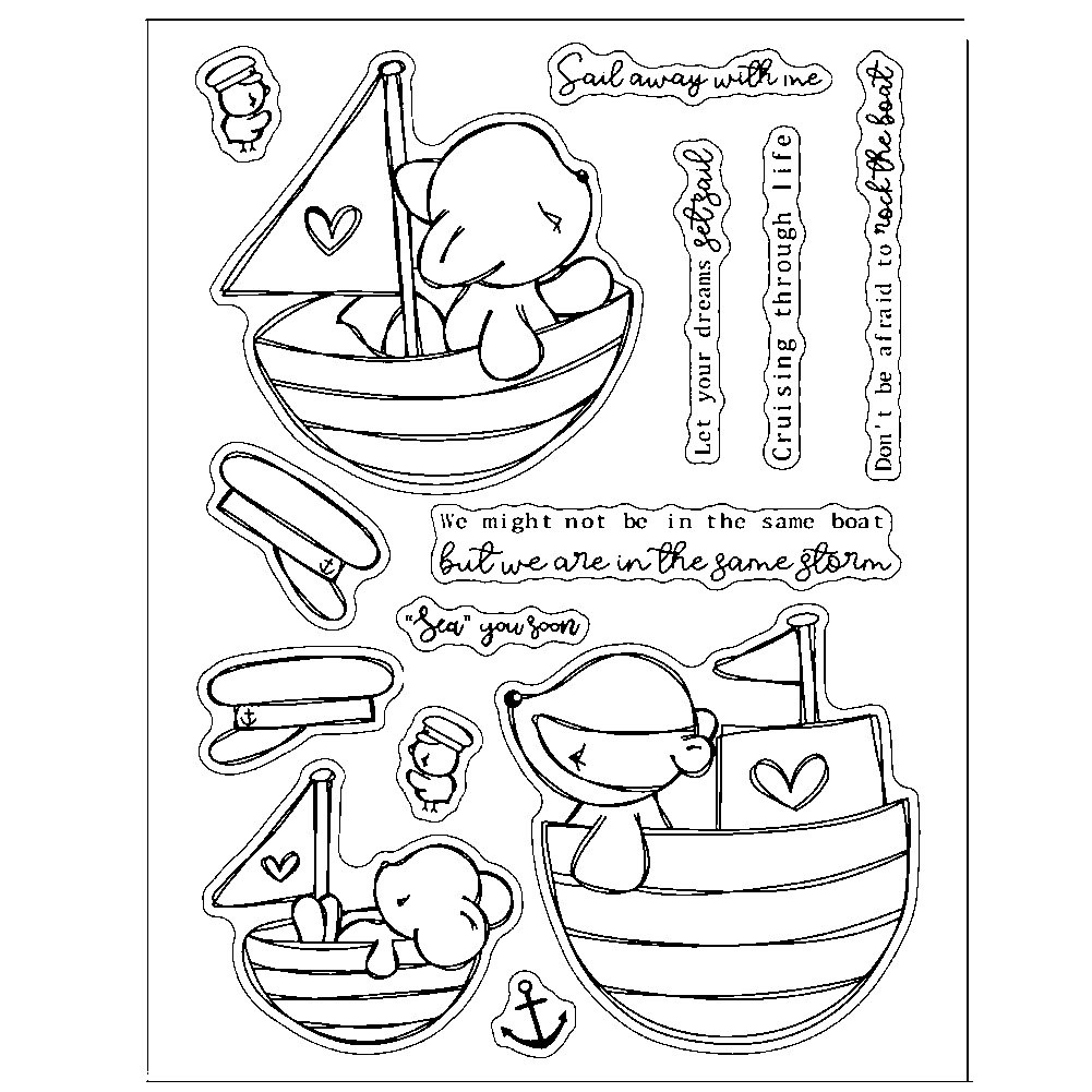 Little Bear Clear Stamps Transparent Silicone Stamp Card Hand Account Rubber Sail Away with Me