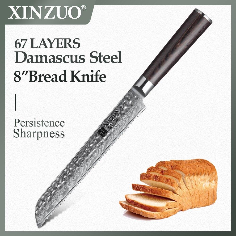 """Xinzuo 8 """"polegadas faca de pão aço inoxidável 67 camadas damasco faca de cozinha vg10 núcleo aço bolo faca com pakka punho madeira"""