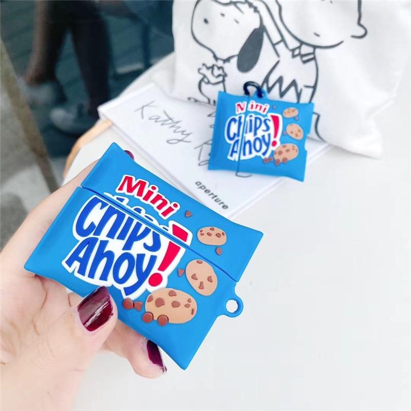 Para los Airpods caso 1/2 3D divertido lindo galletas bolsa para comida de silicona suave Auriculares auriculares para los Airpods caso para los niños
