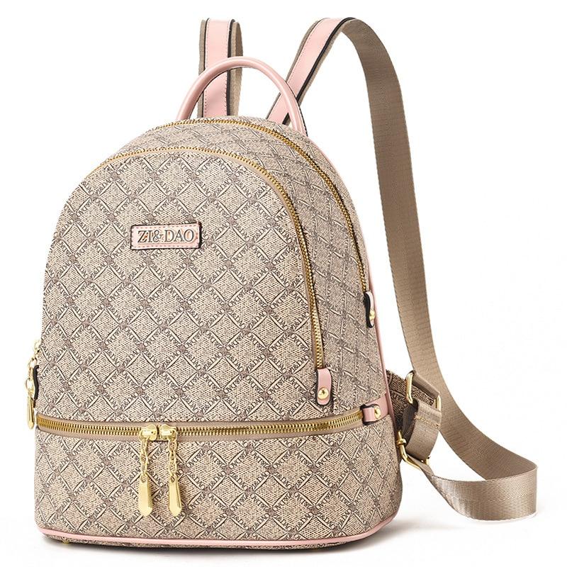 2020 جميل على ظهره النساء الطباعة حقائب جلدية مصمم حقائب الظهر الإناث مزدوجة حقيبة كتف فتاة حقائب السفر حقيبة الظهر