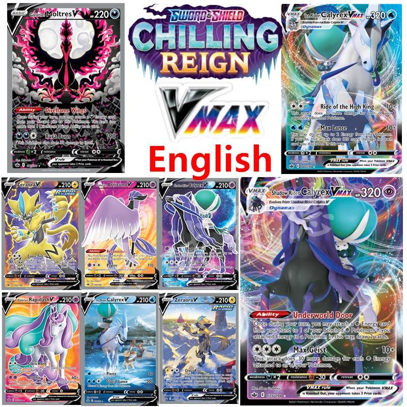 pokemon-новая-английская-карта-vmax-50-шт-zapdos-tcg-меч-и-щит-холодное-царствование-calyrex-dynamax-vmax-игра-коллекционные-игрушки
