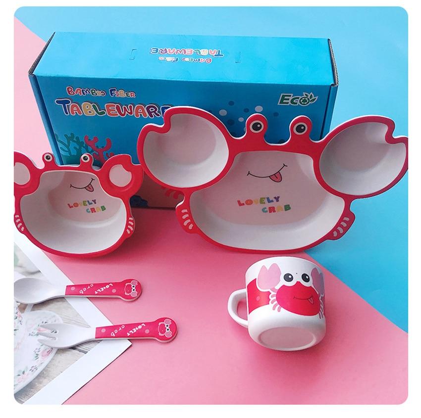 5Pcs Little Crab Divided Children's Plate Cute Creative Household Dinnerware Baby Plate Breakfast Dinner Plate