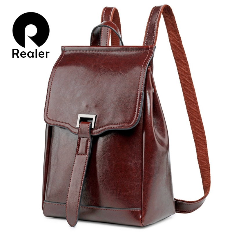 Mochila De moda REALER para mujeres adolescentes, mochilas de cuero de alta calidad, bolso de escuela vintage, bolso de hombro para mujeres