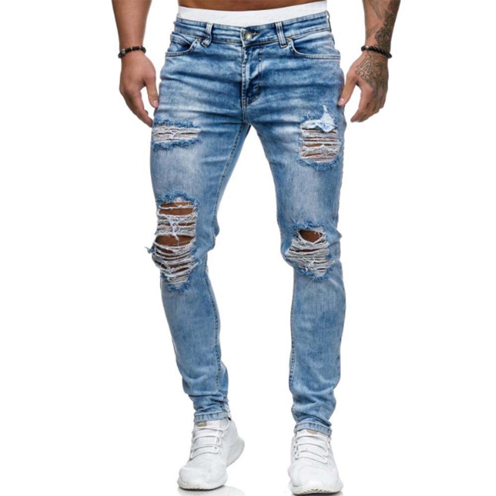 Vintage Men's Hole Jeans Mid Waist Streetwear Mens Denim Trouer Pencil Pants New Male Full Length Skinny Jeans jean homme D25