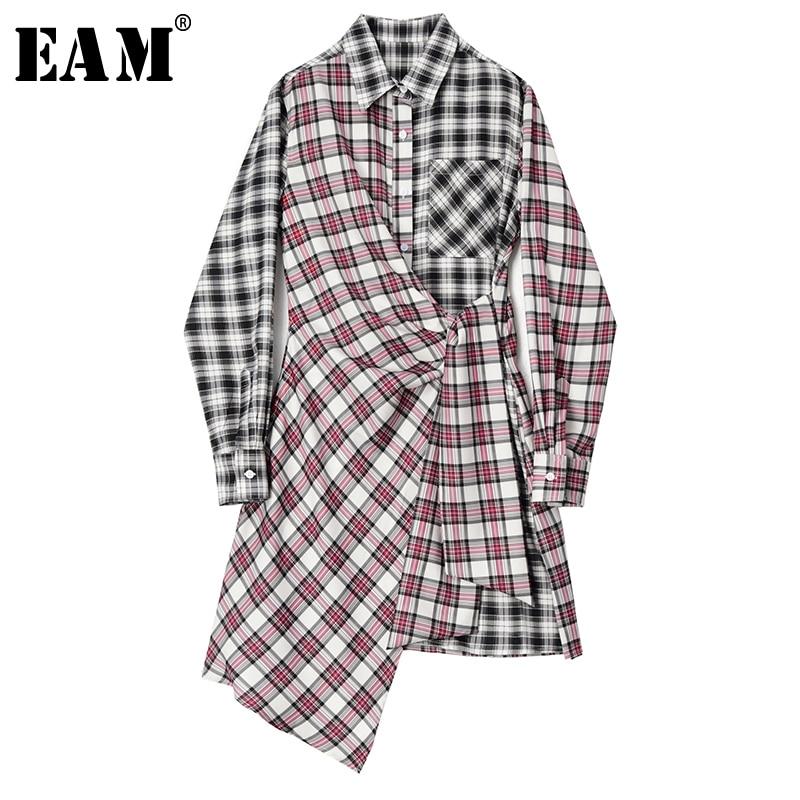 [EAM] Women Black Red Plaid Asymmetrical  Dress New Lapel Long Sleeve Loose Fit Fashion Tide Spring Autumn 2021 1S646