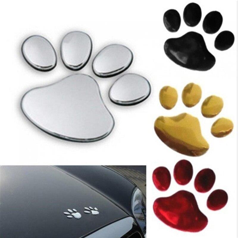 Coche estilismo auto decoración de motocicletas 3D perro huella de patas de perro pegatinas de PVC para coche etiqueta perro oso gato animal pie etiqueta impresa