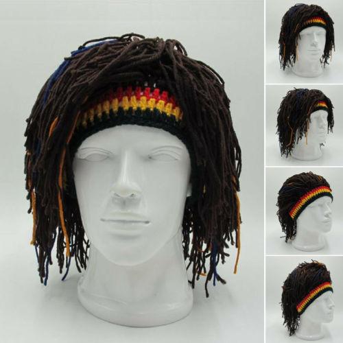 Hip Hop moda gran oferta Reggae Dreadlocks Skullies 2020 Unisex jamaiquino tejido gorros peluca trenza sombrero Rasta pelo sombrero gorros