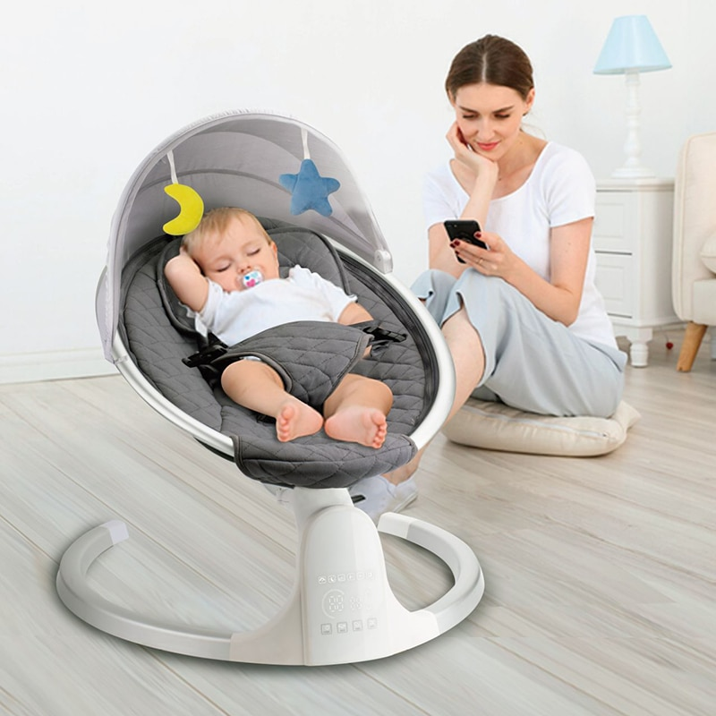 New Baby Electric Rocking Chair Rocking Bed Coax Baby To Sleep Rocking Chair Cradle Sleeping Basket Electric Smart Rocking Bed