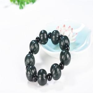 Natural Hetian Qingyu Lotus and pumpkin Bead Jade Bracelet Jewelry Fine Jewelry Lucky Safety Auspicious Amulet Jade Bracelet