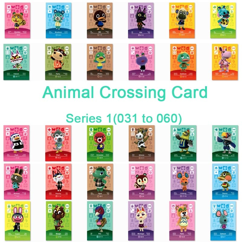 Tarjeta de cruce Animal Amiibo, tarjeta de trabajo para juegos Ns serie 1, pegatina de Cruce de Animales (031 a 060)