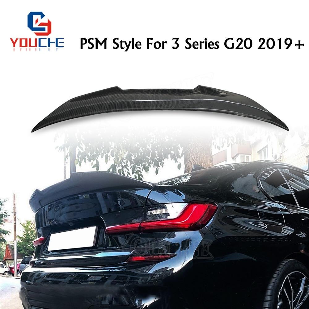 G20 fibra de carbono spoiler traseiro asa para bmw série 3 g20 4-door sedan 2019 + psm estilo tronco traseiro boot lábio