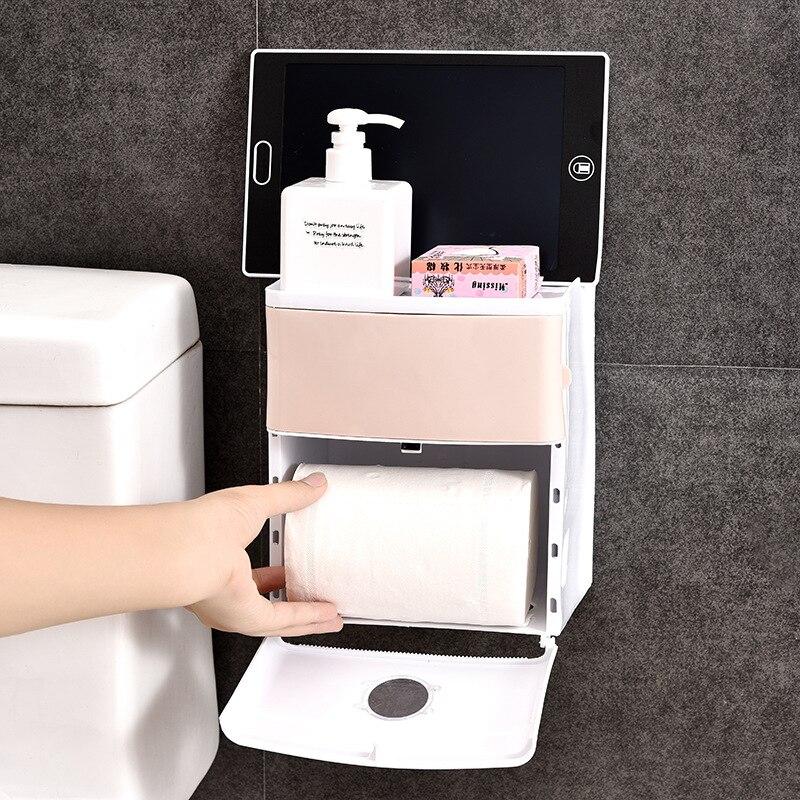 Caja de pañuelos de papel impermeable creativa de dos pisos para baño, caja receptora de pasta para inodoro sin marcas, sin perforar, toallero