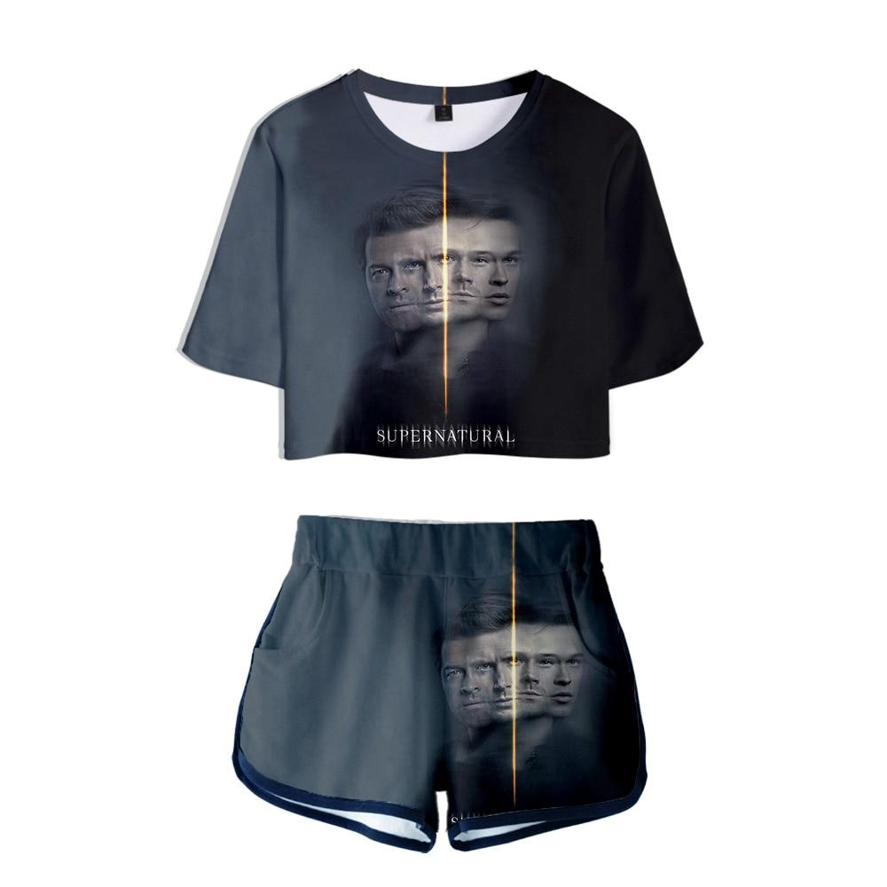 2019 TV series Supernatural Season 15 Sam and Dean 3D print Two Pieces sets Women Fashion girl Casual T-shirt+shorts Clothes