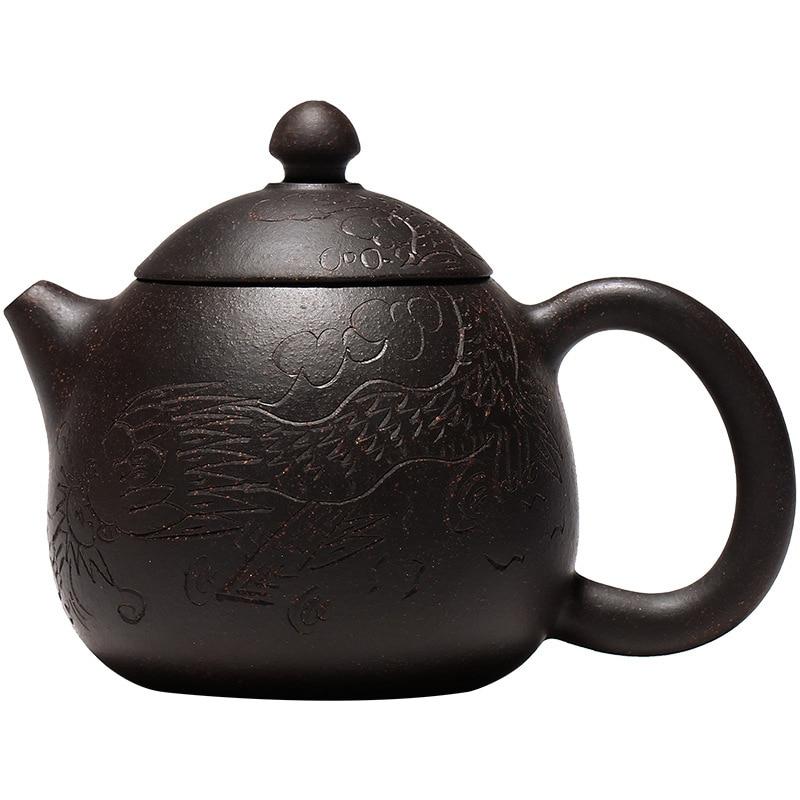 Zisha إبريق الشاي 6.4 أوقية Yixing براد شاي الطين مع فلتر مضحك اليدوية ، الصينية الكونغ فو ماكينة إعداد الشاي مجموعة-التنين البيض