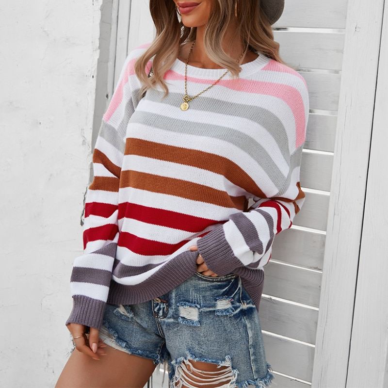 Casual Striped Off Shoulder Women Sweaters Autumn Winter O-neck Long Sleeve Loose Pullover Girlish Style Knitted Sweater недорого