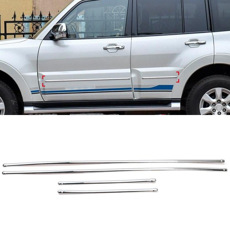 For Mitsubishi Pajero Shogun V80 2007-2019 ABS Chrome Car Side Door Body Molding Cover Trim 4PCS