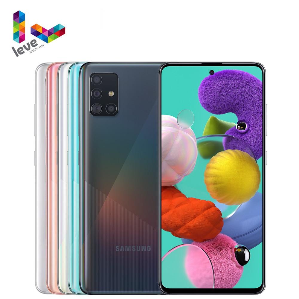 Разблокированный Samsung Galaxy A51 A515F 2SIM мобильный телефон 6,5 дюйм 6 ГБ ОЗУ 128 ГБ ROM Octa Core NFC 4 камеры 48MP Android 10 смартфон