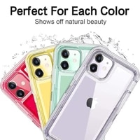 notow for iphone 12 12promax 11 xs xr 7 8 plus mini transparent robot phone case half clear shockproof armor glossy plain cover