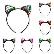 1 pc Female Girls  Fashion Glitter Sequins Hair Hoop Cat Ears Hairband Halloween Tiara Headband