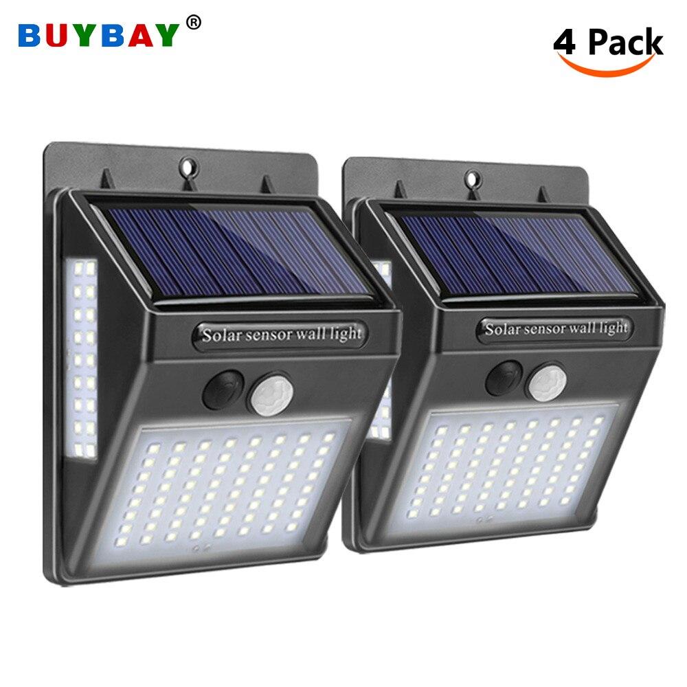 Paquete de 4 luces de seguridad Solar LED al aire libre lámpara Solar Led con Sensor de movimiento luz de pared IP65 impermeable Solar Powered jardín lámpara