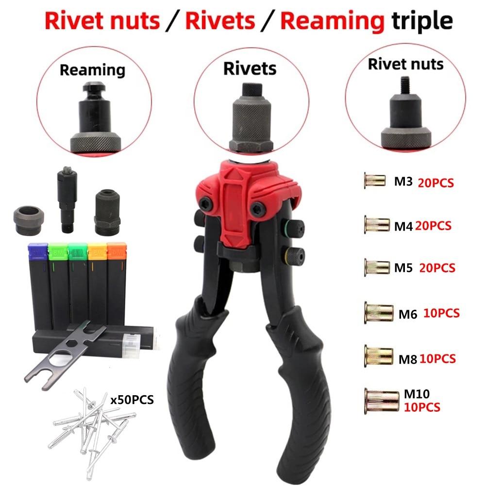 Multifunctional Triple Manual Riveter Guns/Rivet Nut/rivet/reamer Tool Iron Galvanized For Furniture Off-road/Jeep Modifications