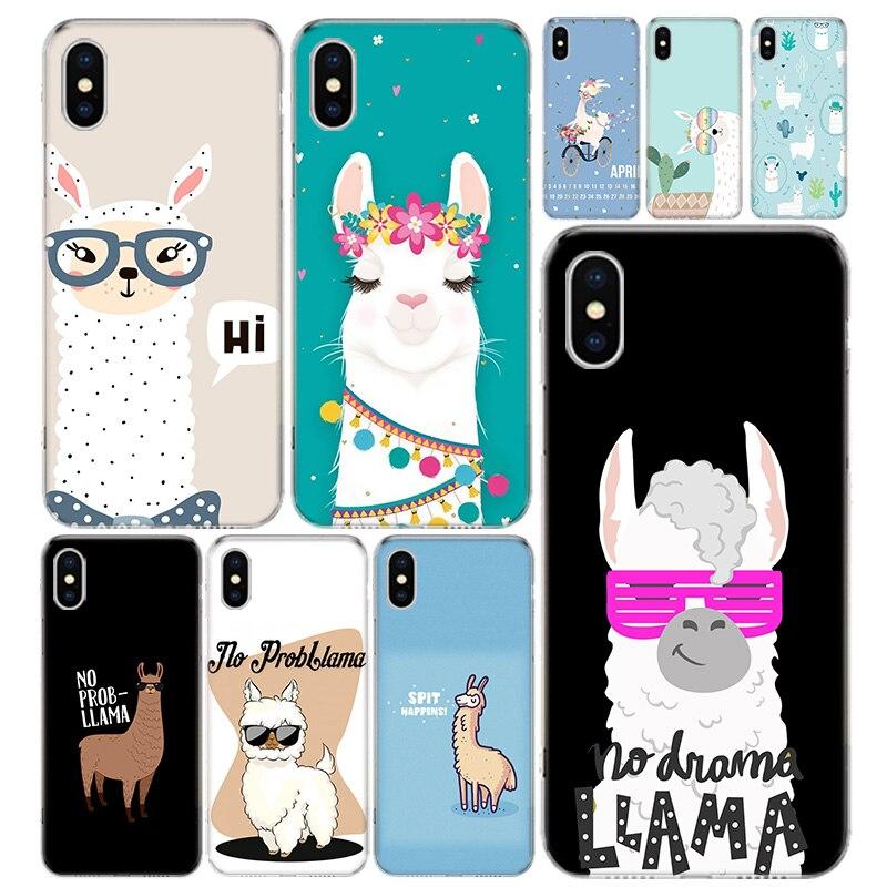 Mignon Animal alpaga housse de téléphone pour Iphone 12 Mini Pro 11 7 8 6 6S Plus + X XS MAX XR 5 5S SE Art de la mode Coque en TPU Coque Ca