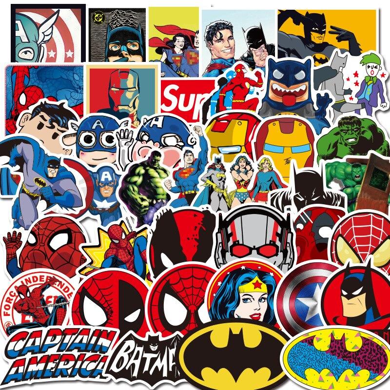 50 Uds. Marvel Hero Spiderman Iron Man Superman Capitán América pegatinas teléfono pegatinas guitarra cuaderno equipaje pegatina impermeable