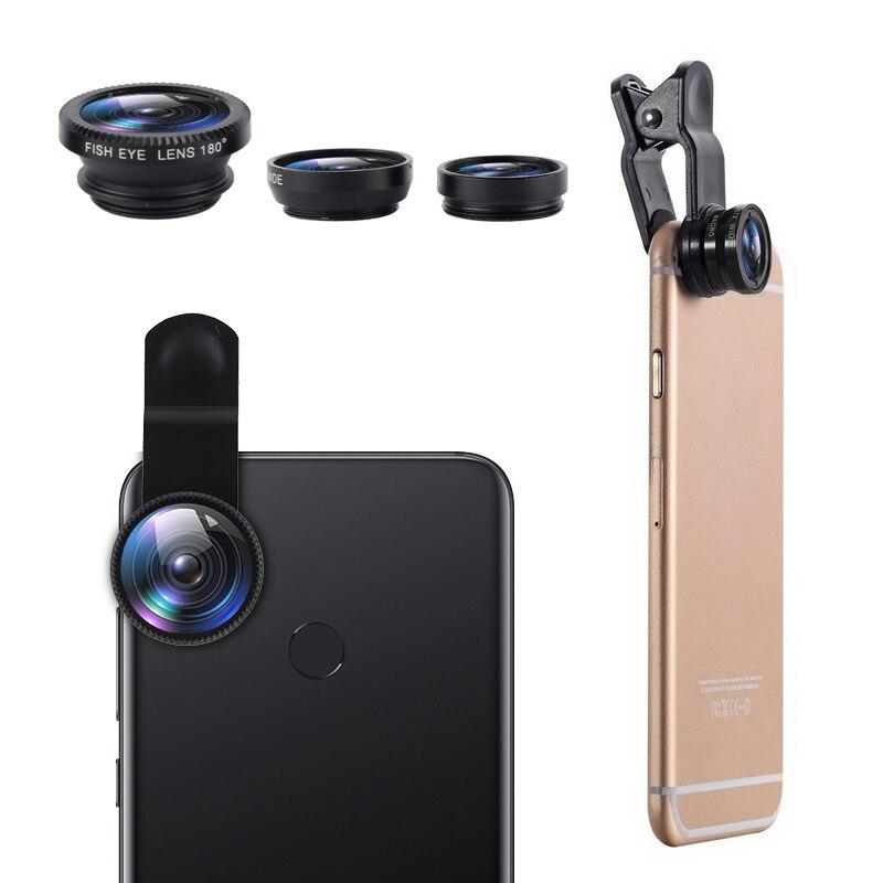 3 In 1 Wide Angle Clip Macro Fish Eye Lens Mobile Phone Camera Kit Fisheye Lenses Smartphone For IPh