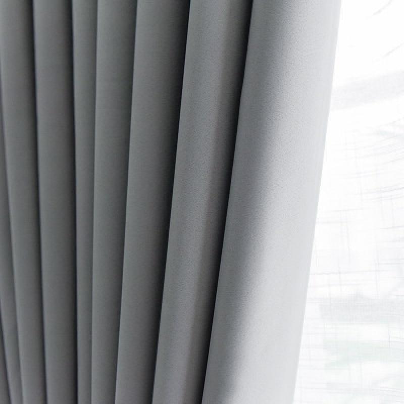 Moderno e minimalista sombra isolamento térmico protetor solar cortina pano de seda preta costura cor sólida engrossado completo blackout cortina