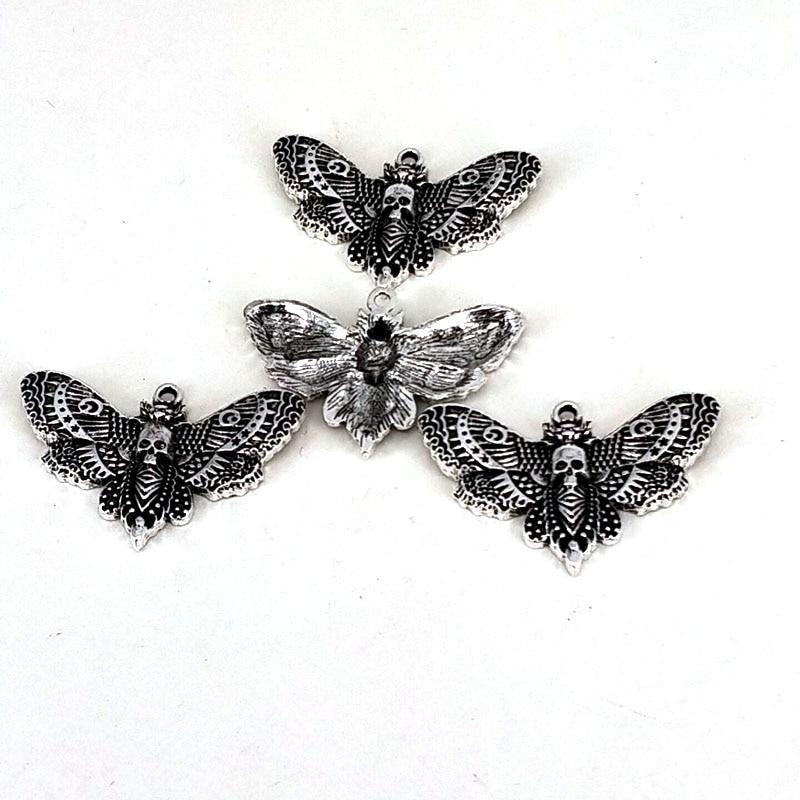 hzew 50 pcs Animal moth accessories skull head moth pendant