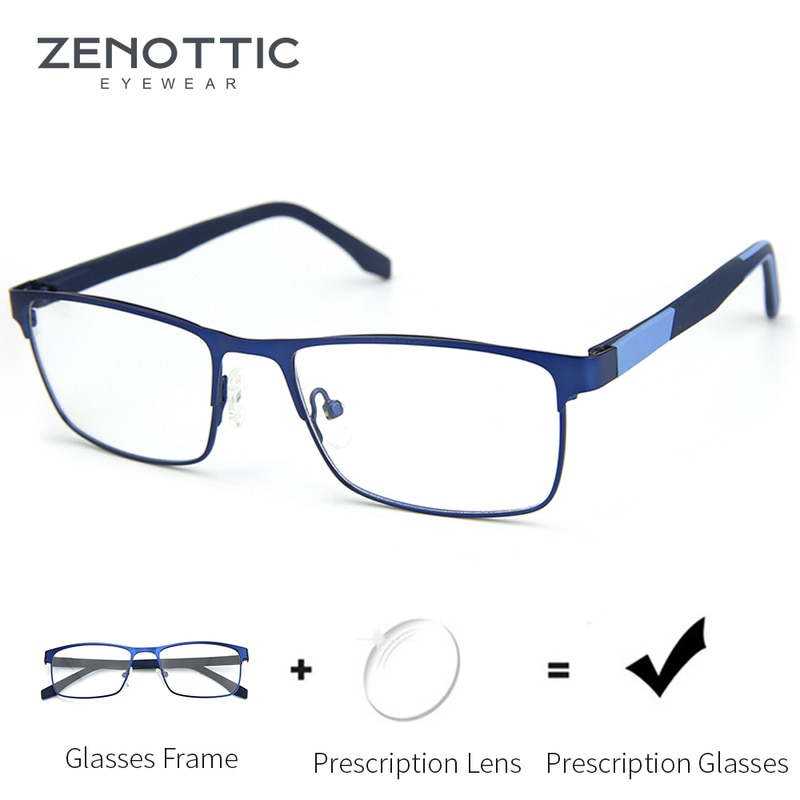 ZENOTTIC Alloy Progressive Prescription Glasses for Men Women Square Myopia Anti Blue Light Photochr