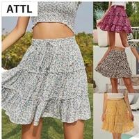 2021 summer floral women skirt ruffle print sandy beach sexy fashion casual sweet empire ladies mini a word skirts