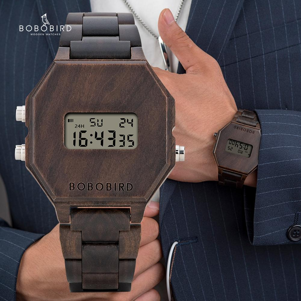 BOBO BIRD Designe Digital Wristswatch Men Night Vision Bamboo Watch Male LCD Watches Unique Time Display Christmas Anniversary