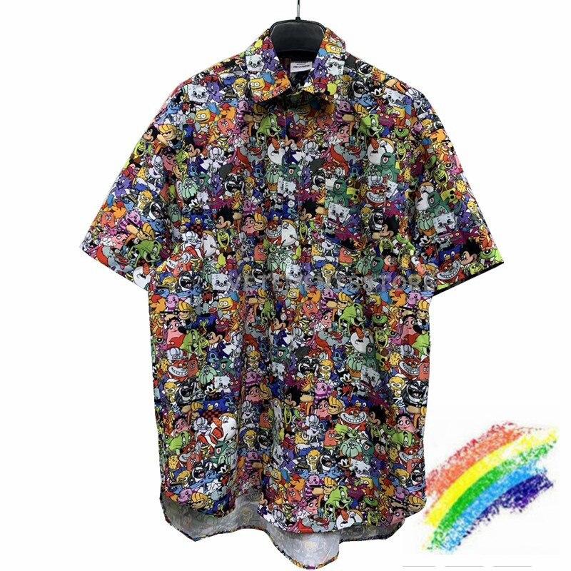 Vetements 2020 camisas dos desenhos animados das mulheres dos homens 11 melhor qualidade vetements camisa streetwear solto vetements bordado camisa