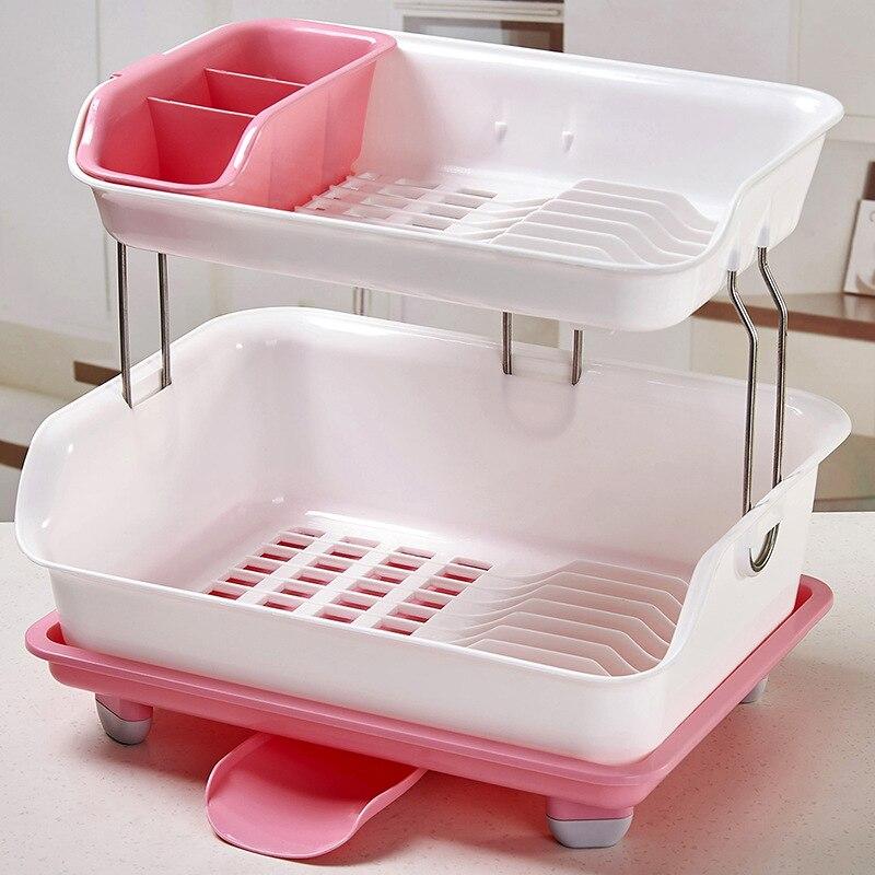 المطبخ طبقة مزدوجة استنزاف السلطانية رف 2-layer رف أدوات المائدة تخزين الرف طبق البلاستيك رف منتج جديد متعدد الوظائف