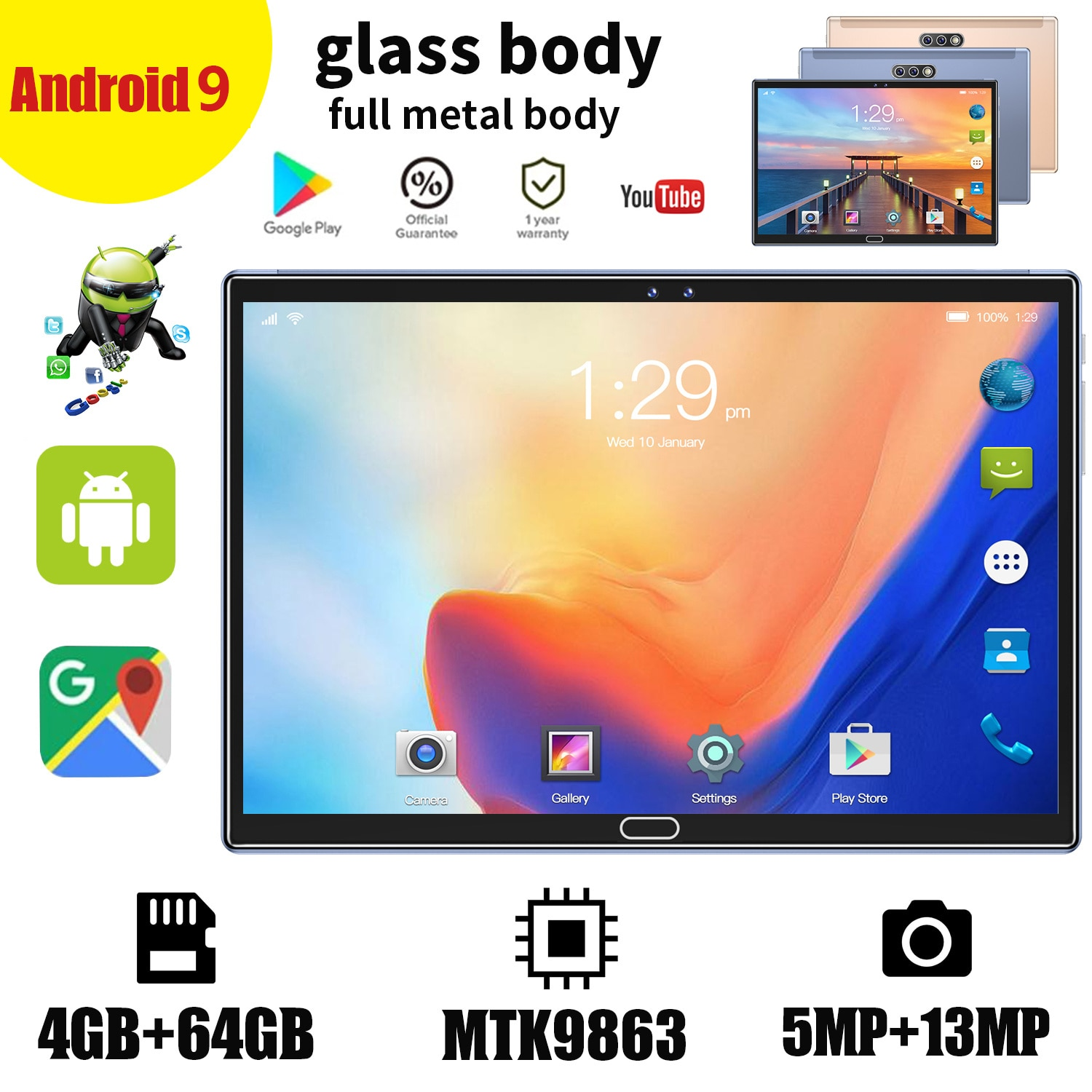 2021 Global Style 4g Android 9.0 System 64gb Rom Wifi Calling Tablet Pc 10.1-Inch Tablet Pc Hd Screen 3 Camera Bluetooth