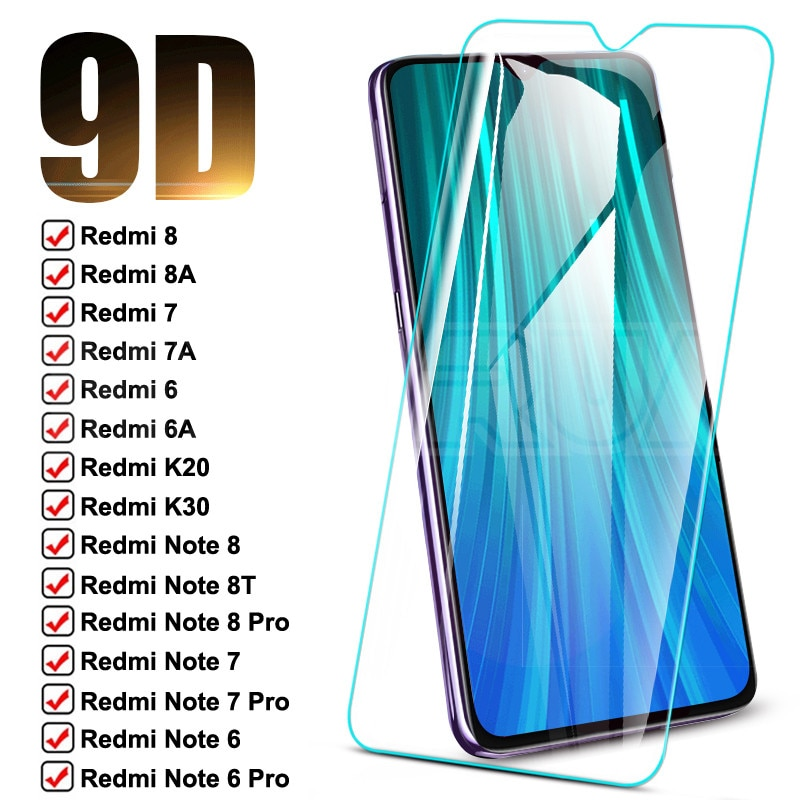 9D Protective Glass For Xiaomi Redmi Note 8T 8 7 6 Pro Tempered Screen Protector Redmi 8 8A 7 7A 6 6