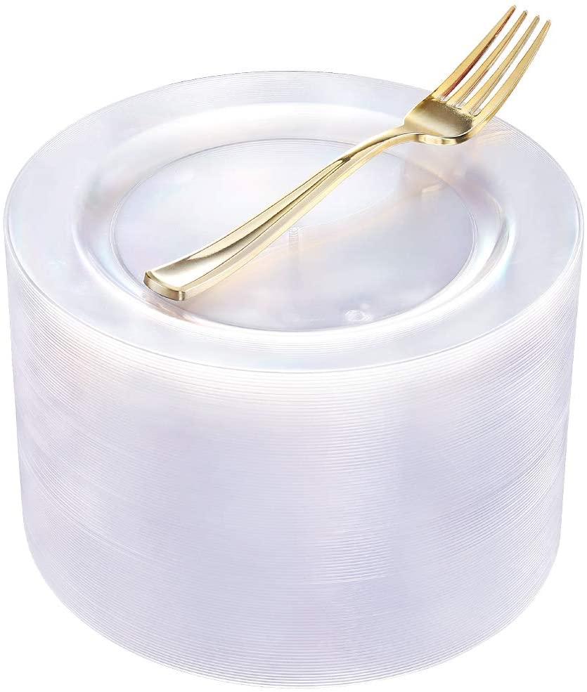 40Pcs Clear Plastic Plates with 50pcs Plastic Forks-19cm Disposable Salad/Dessert Plates Hard Plastic Appetizer Plates for Party