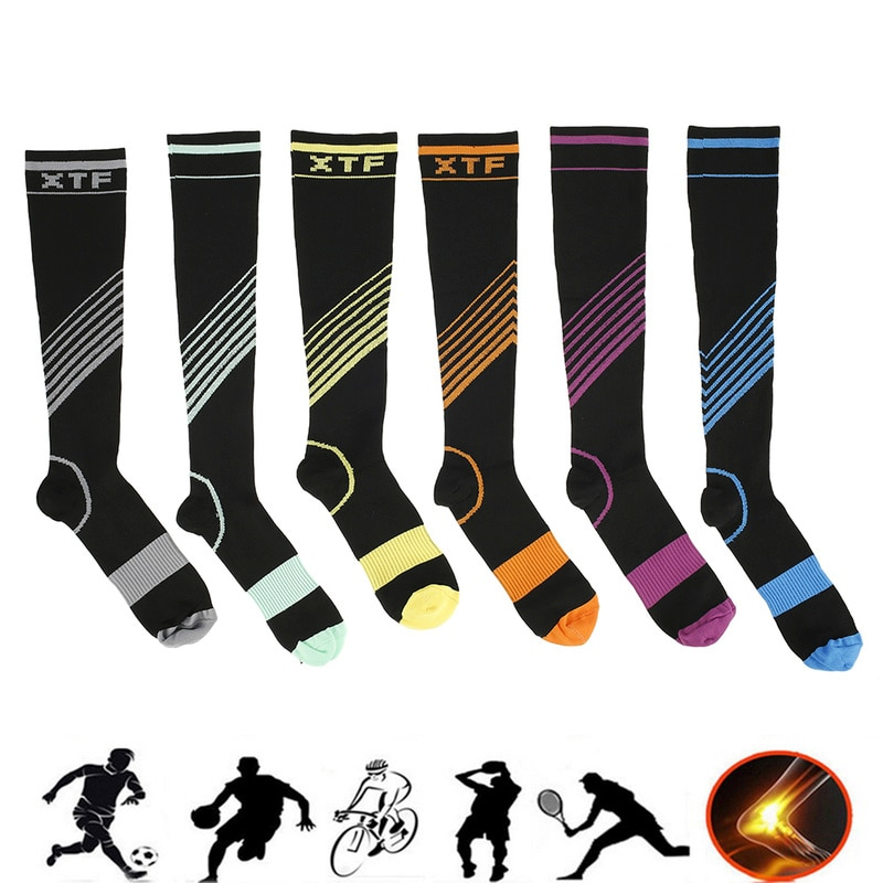 6 Pair Unisex Compression Sport Socks Elastic Fashion Stocking Prevent Chafing Fitness Sport Camping Soccer Sock Protect Feet