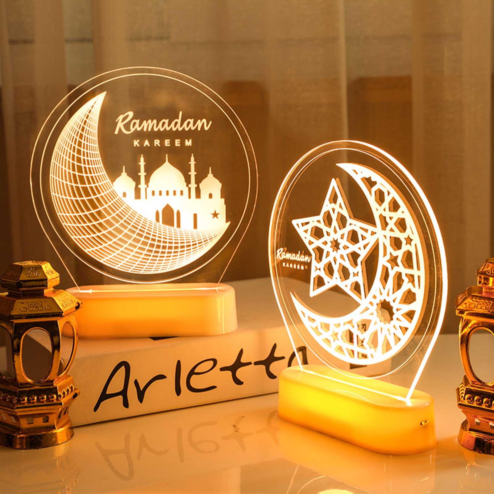 Мусульманская 3D декоративная лампа, ночсветильник, украшение, луна, звезда, дворец, узор Eid Mubarak, круглые фонари, декоративные подарки