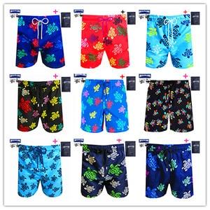 Promotion 100 Pieces/Lot 2021 Mens Hawaiian Shorts Brand Brevilepullquin Beach Boardshorts Vile Turtles Swimwear 100% Quick Dry