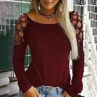 spring autumn s 5xl large size t shirt new fashion casual female decoration body o neck rivets rhinestone hollow long sleeve top
