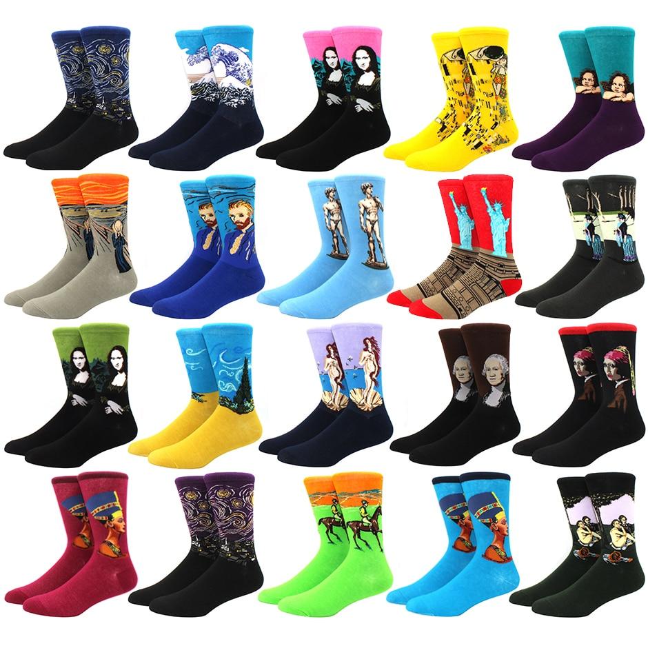 Calcetines de algodón de los hombres la noche estrellada invierno Retro mujeres arte con personalidad calcetines Van Gogh pintura de aceite calcetines feliz Calcetines Hombre socken