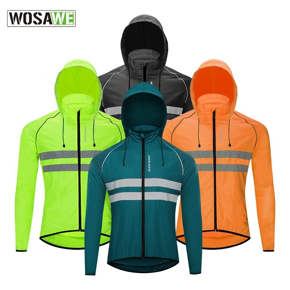 WOSAWE الطريق الجبلية دراجة ركوب تعزيز قبعة معطف الغبار عاكسة تنفس الجلد سترة بأكمام طويلة سترة