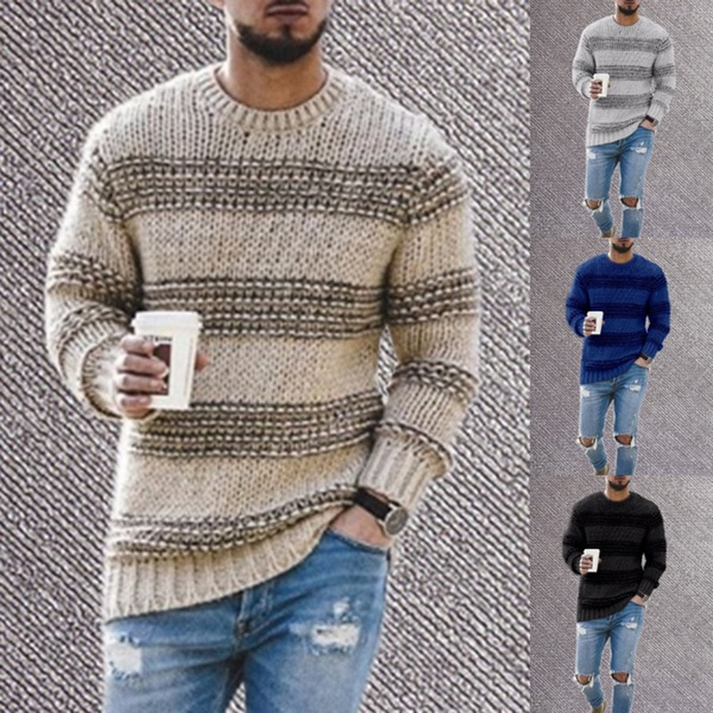 Striped Knitted Sweater Men 2020 Autumn O Neck Mens Knitwear Pullover Casual Slim Fit O Neck Knitting Jumper Sweaters недорого