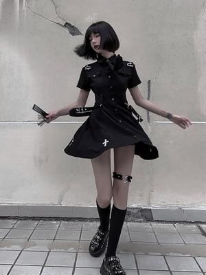 Black Gothic Lolita Dress Cool Girl JK Uniform Student Punk Punk Goth Preppy Dress Party Loli Cos Dress Female
