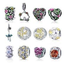 Offre spéciale S925 en argent Sterling coloré fleur breloques perles ajustement Original Pandora Bracelet livraison directe bijoux à bricoler soi-même faisant