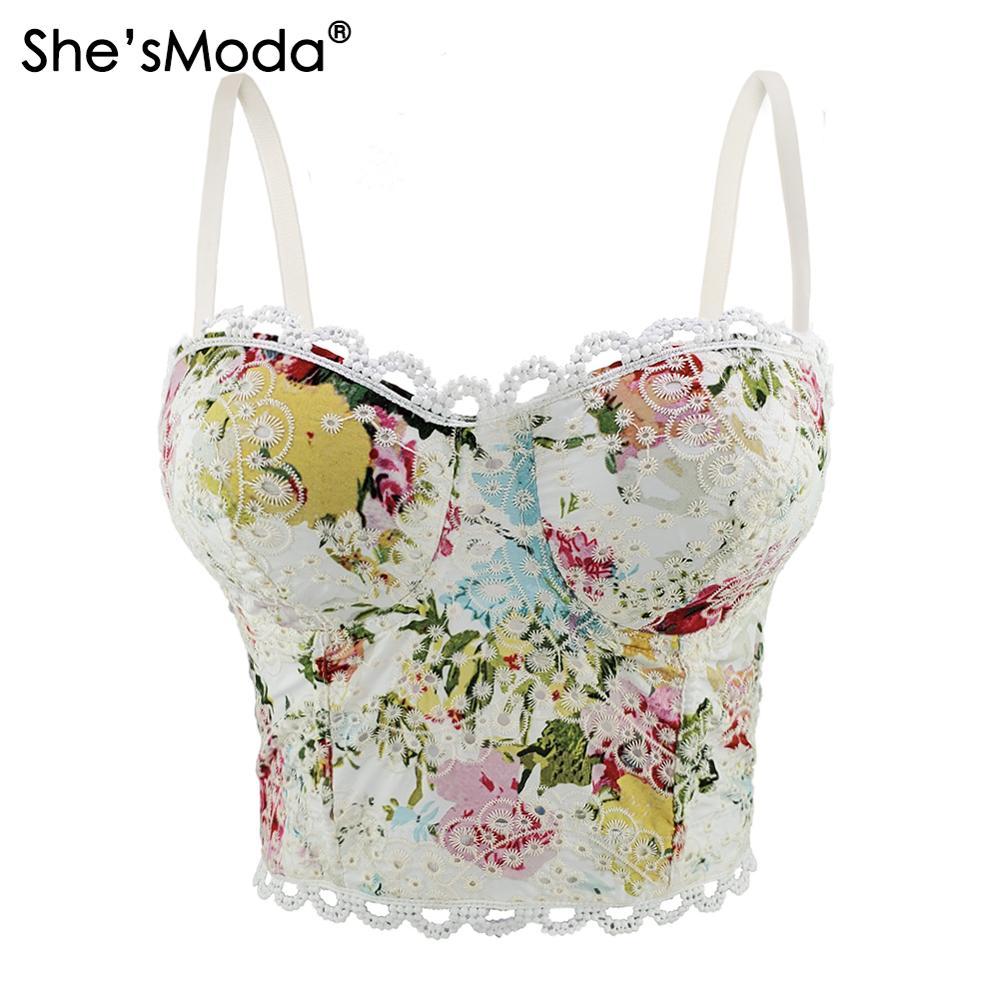 ShesModa blanco Ins Sweet Floral Lace Bralet mujeres Bustier Bra Corset de la boda del partido Corset recortado Top Chaleco de talla grande