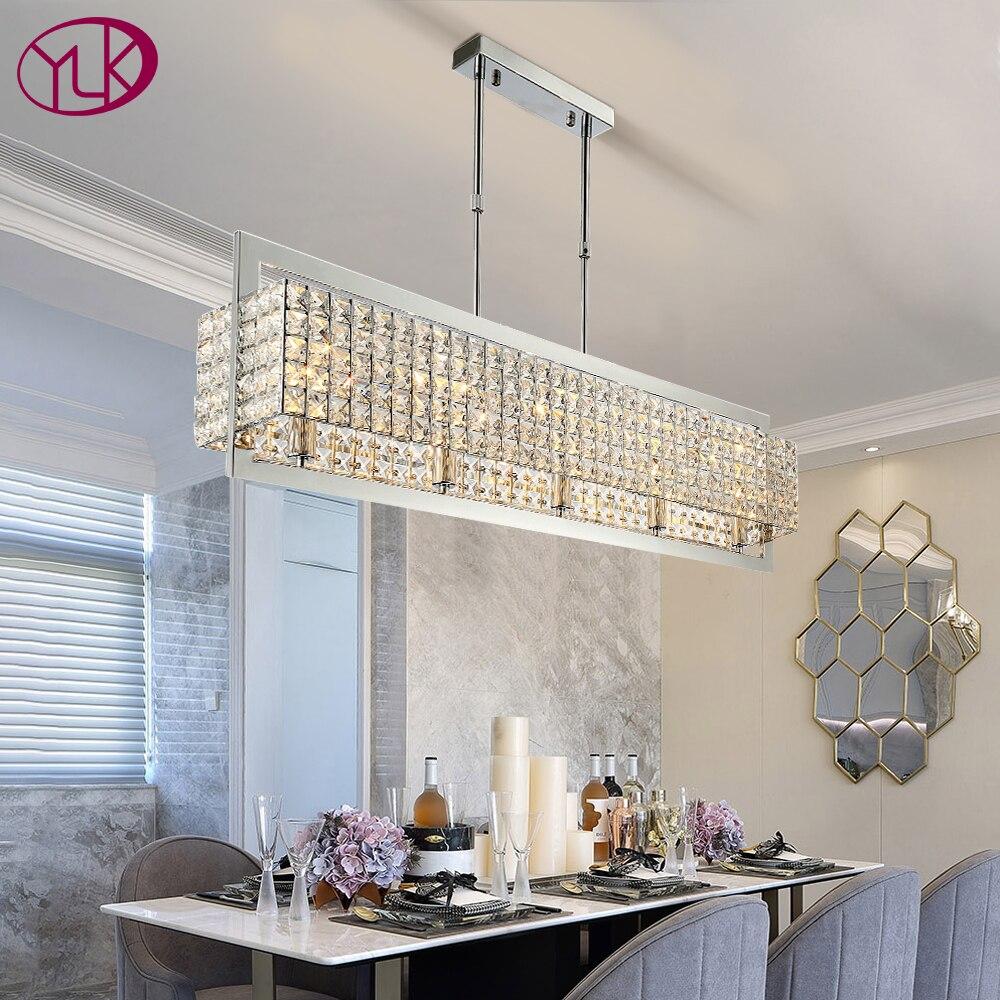 Candelabro de lujo moderno rectángulo de cristal transparente cromado, lámparas Led para decoración del hogar, lámpara colgante, accesorio de luces interiores